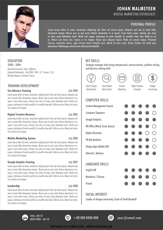 Editable Free Cv Templates For Fresh Graduate Cv Template Free Cv Template Resume Template Free