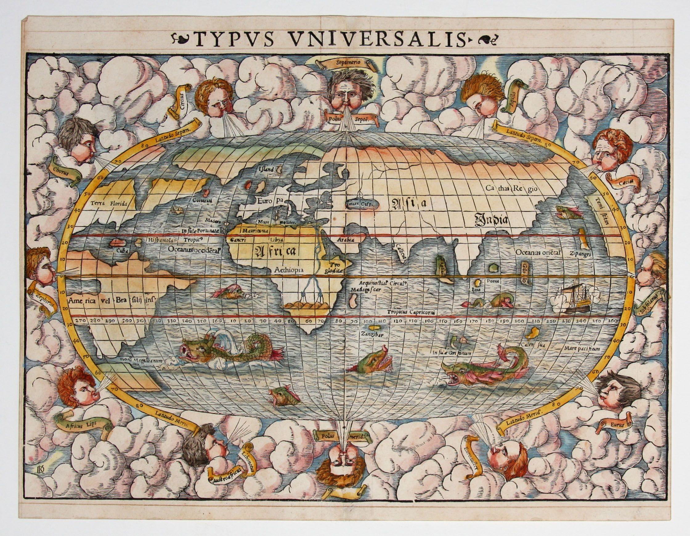 Sebastian Munster map of the world 1550 cartography Pinterest