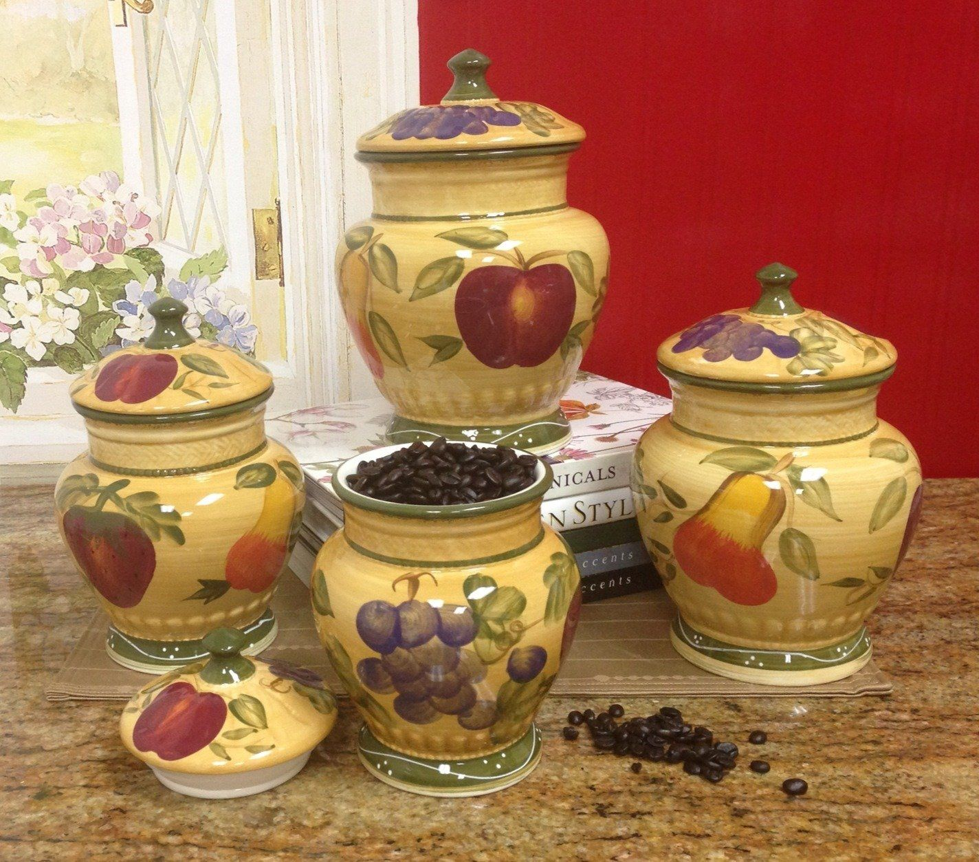 Elegant European Style Tuscan Fruit Grape Kitchen 4 Pc Canister Set