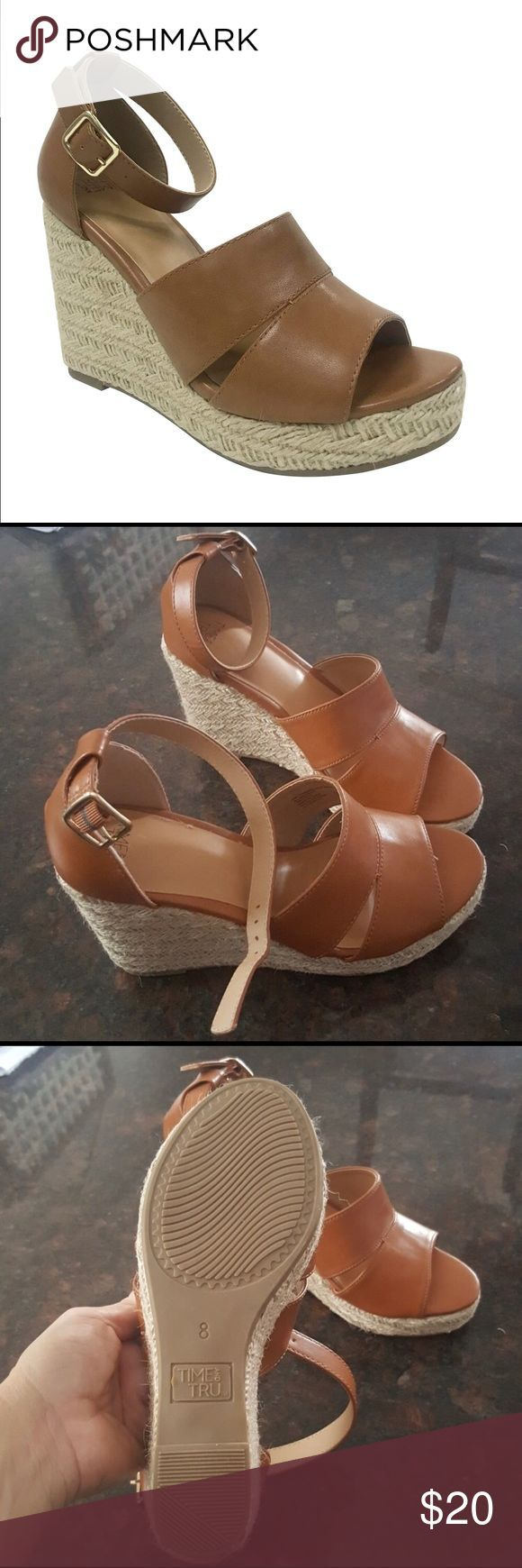 TAN WEDGE SANDALS Women's size 8 Time and Tru covered wedges. In excellent con... #lowwedgesandals