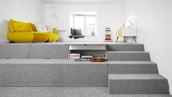 Wohnzimmer Podest ~ Einbaumöbel mit podest decoration closet