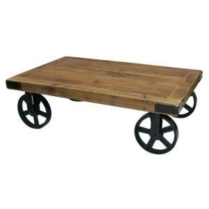 Table Basse Table Basse Industrielle Lukas Bois Et Fer à Roues