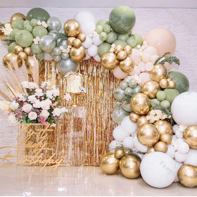 142pcs Doubled Sage Green Gold Balloon Garland White Cream Etsy In 2021 Baby Shower Party Decorations Anniversary Party Decorations Green Balloon