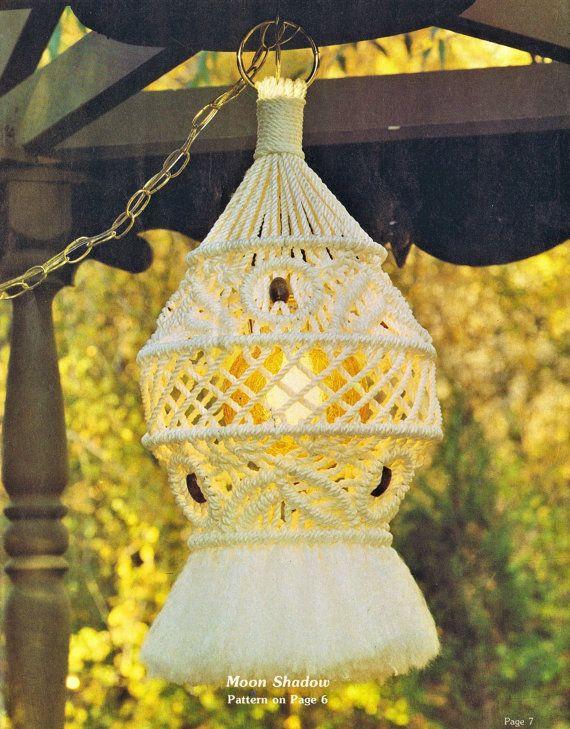 Macrame Lamp Pattern Vintage 1970s Hanging Table Planters ...