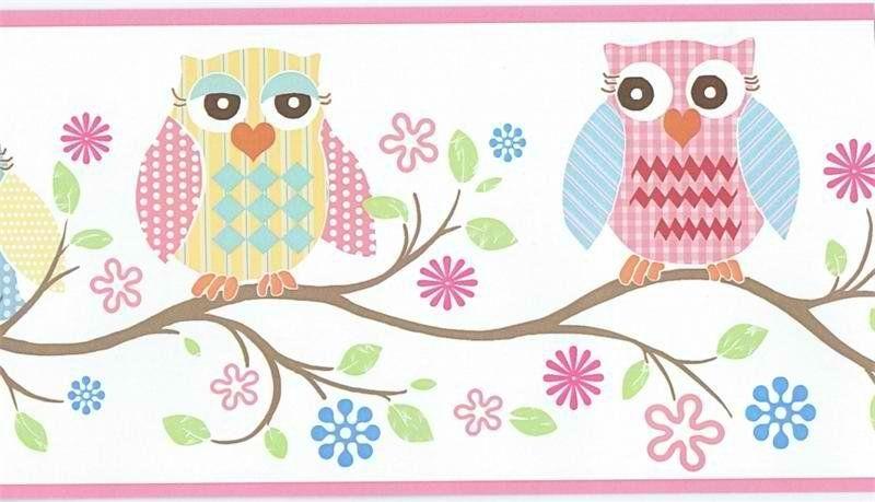 Owl Wallpaper Border GIR94011B, Baby Owls Girls Pink Wallpaper