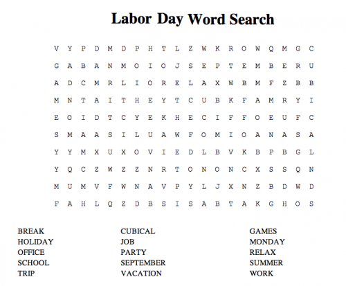 picture about Labor Day Word Search Printable named Labor Working day Term Glimpse Printable Web pages  Pets