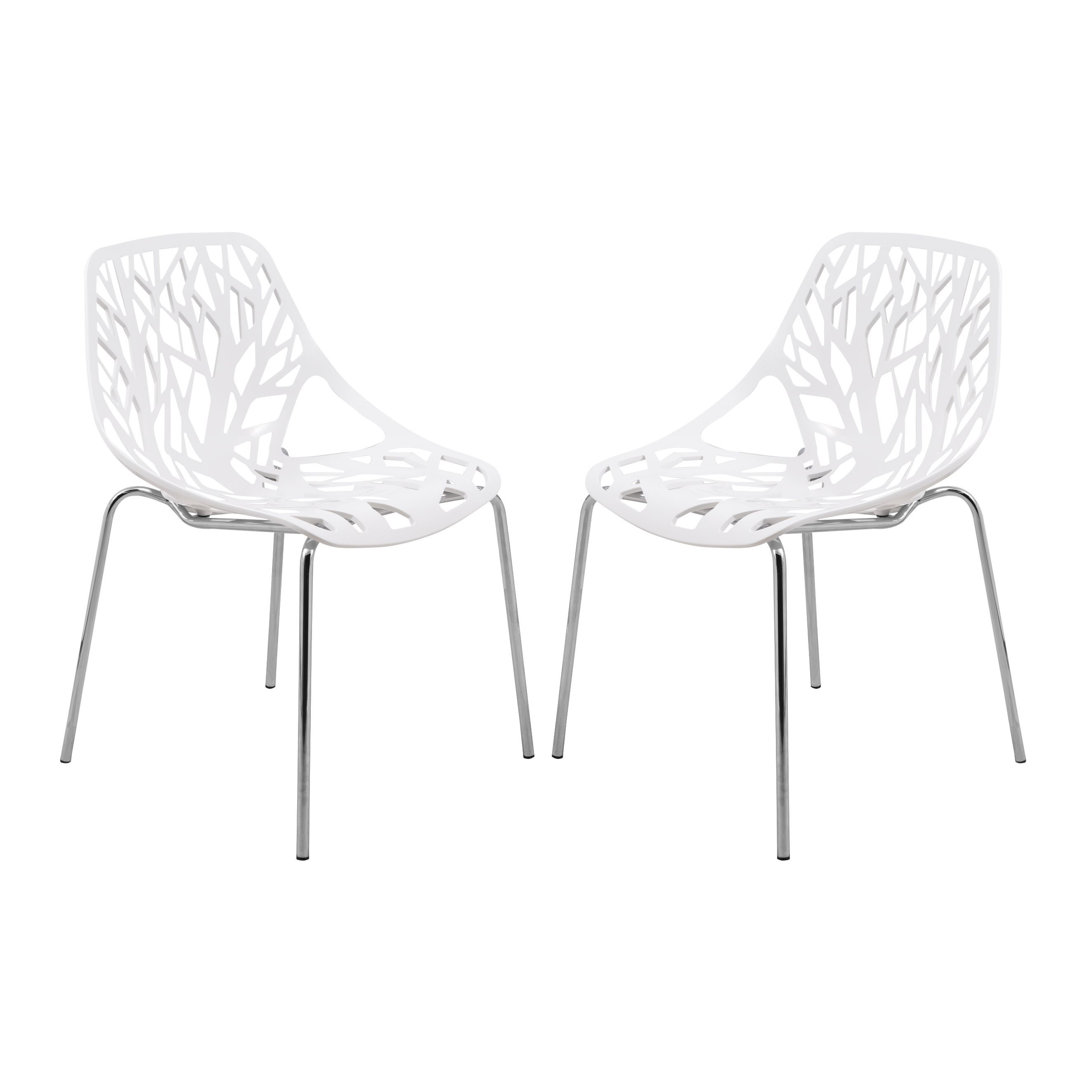 Black Dining Room Chairs With Chrome Legs Pink Kids Chair Leisuremod Asbury Modern White Set Of 2 Plastic