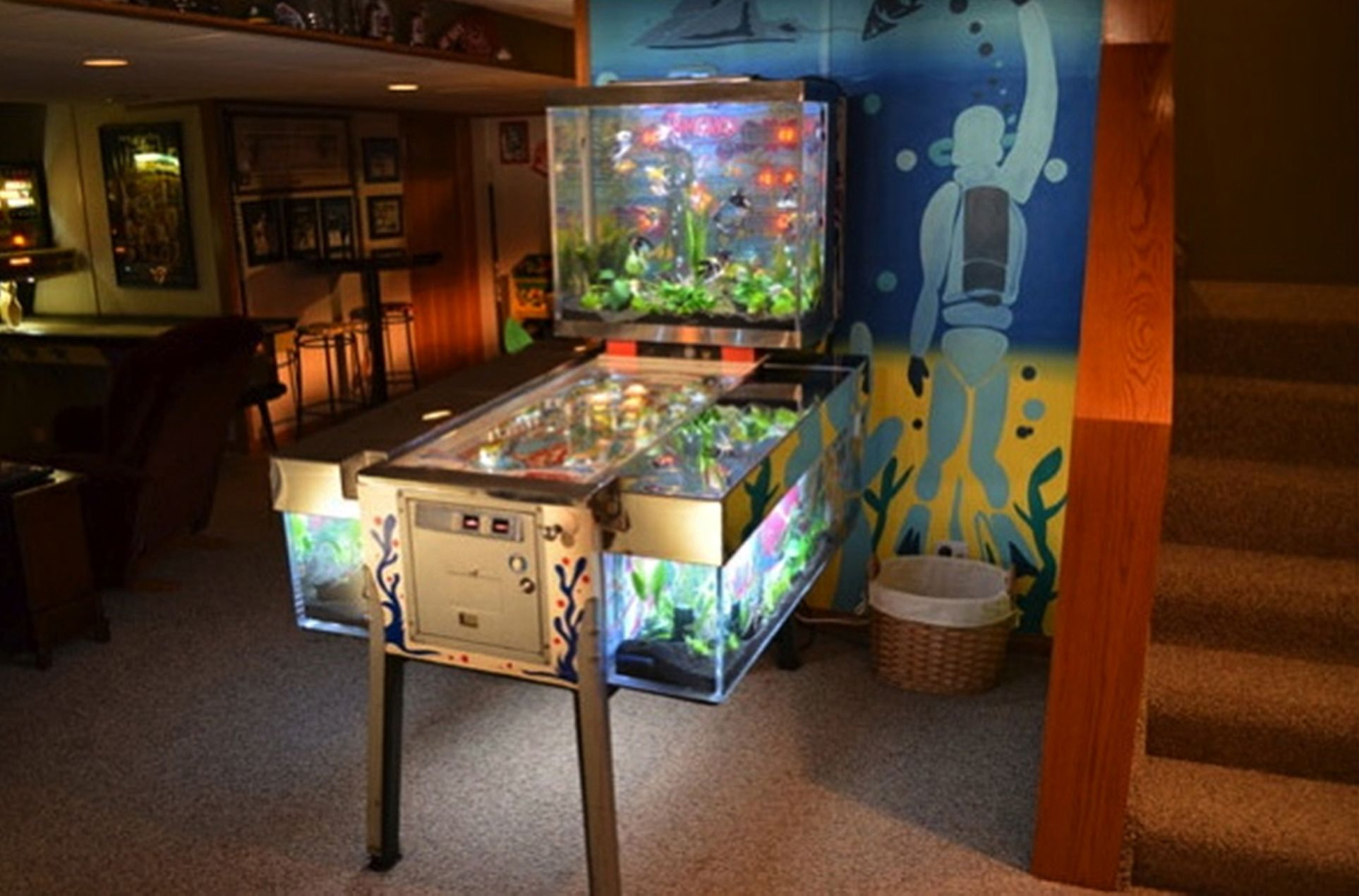 Every Game Lover Will Love To Have This Nice Pinball Aquarium At Living Room ! Part 85