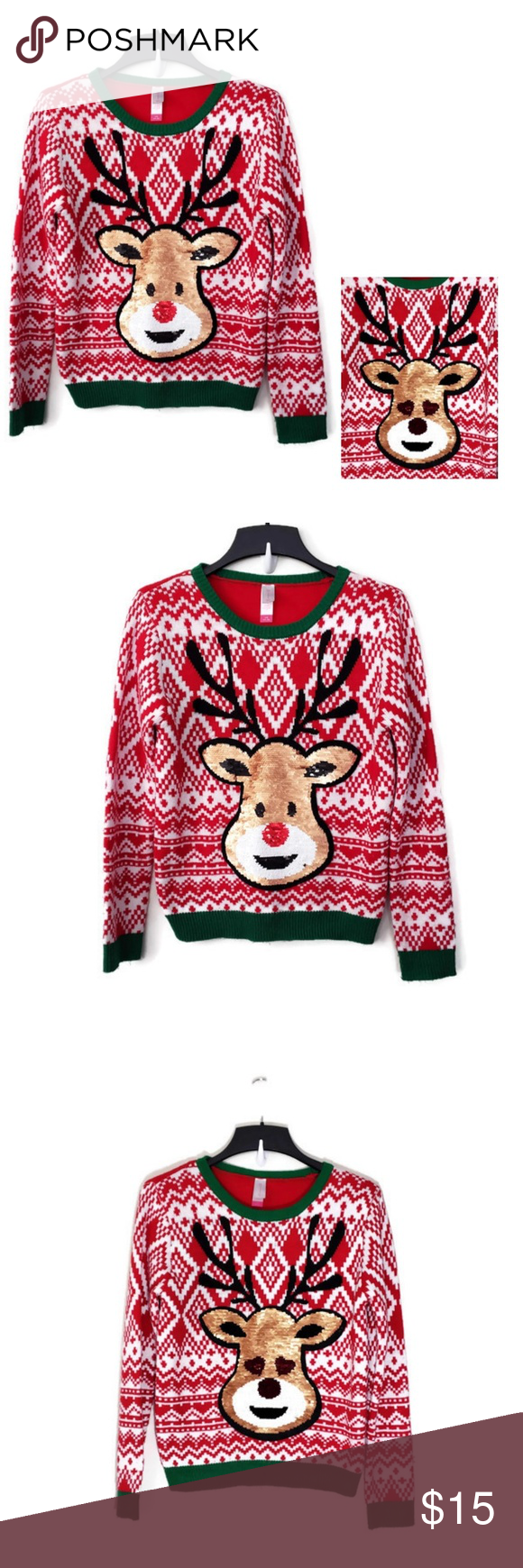 Sequin Raindeer Holiday Sweater Sweaters Holiday Sweater Sweaters For Women