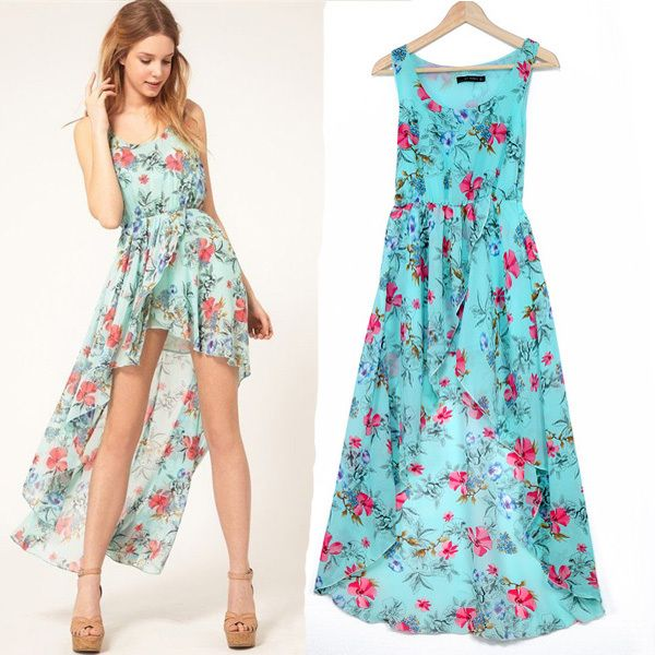 Hot Summer Dresses | 2014-Hot-Sale-Summer-Vintage-Chiffon-Dress-Flower-Print-Asymmetry ...