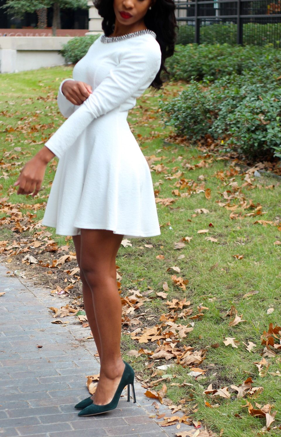94da49b381 White Dress. Winter Fashion. Skater Dress. Long Sleeves, maybe in ...