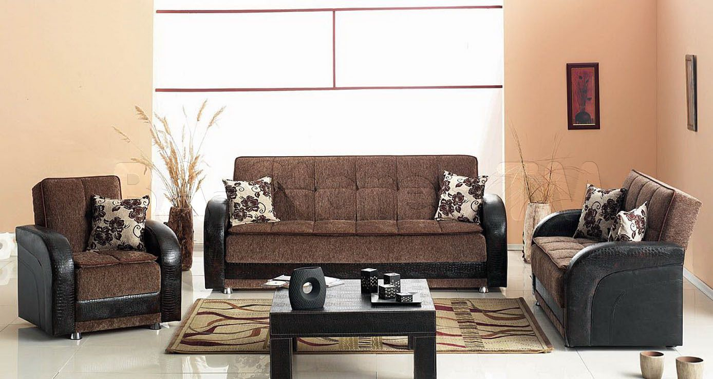 Furniture, Dark Brown Fabric Arm Chairs Dark Brown Fabric Sofa Long Area Rug Pattern Black Coffee Table White Ceramic Tile Flooring Orange Accent Wall Floral Pattern Cushions: Fantastic Chair for Living Room That Make a Unique Look to Your House