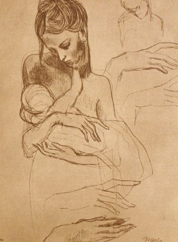 Mother And Child Vintage Picasso Print Tophatter Picasso Drawing Culture Art Mother And Child
