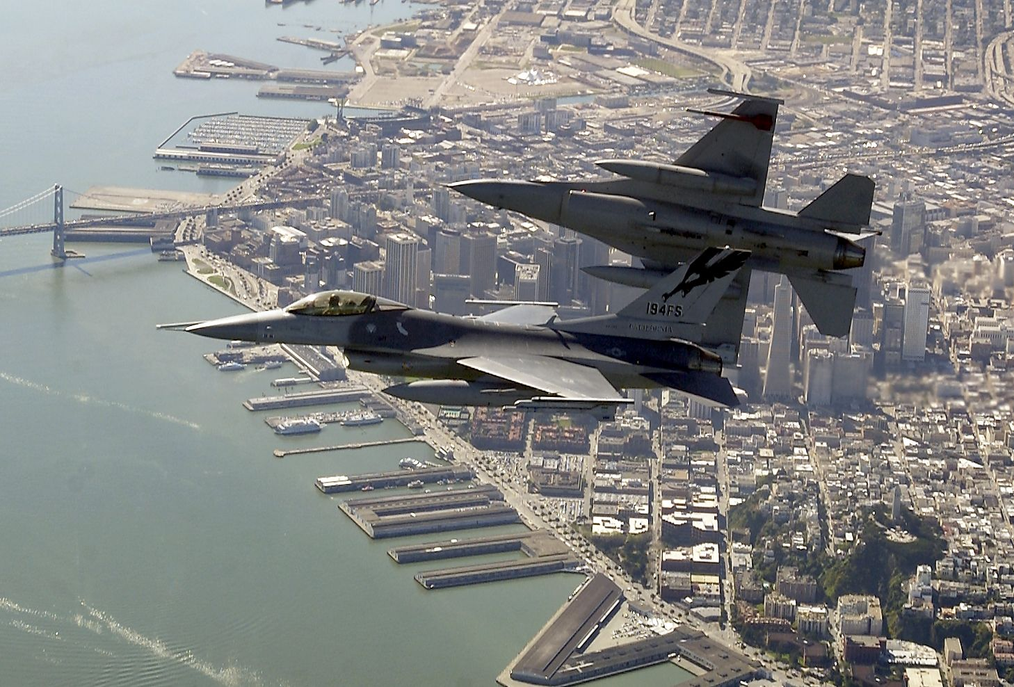 F16's fly over San Francisco bay Fighter, Fighter