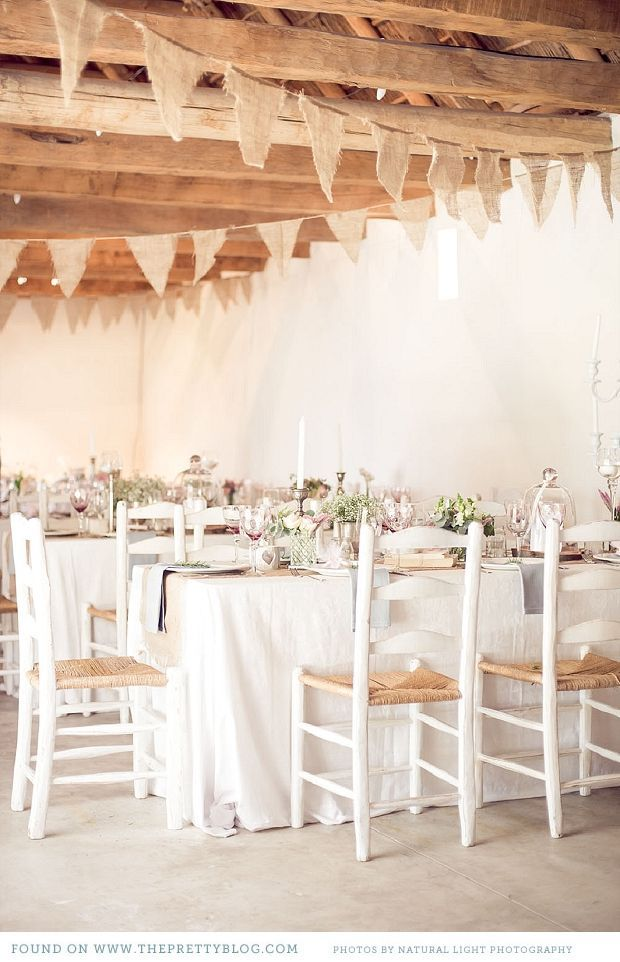 Love the burlap pennants Rustic table setting  Photo Natural Light Photography Burlap pennants as project
