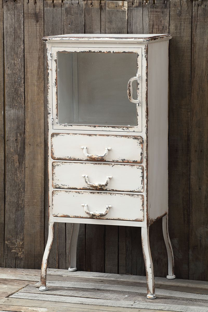 Distressed White Metal Apothecary Cabinet Metal Cabinet Vintage Metal Cabinet Furniture [ 1200 x 800 Pixel ]