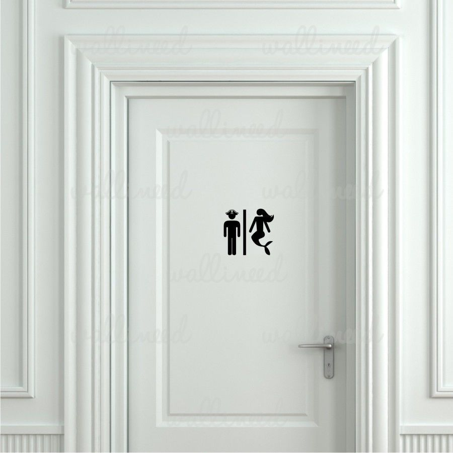 Pirate And Mermaid Toilet Sticker Door Sticker Door Decal