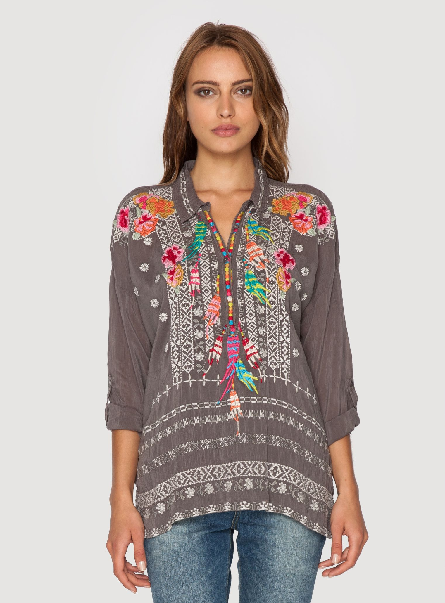 c25def1d6a0238 Johnny Was Clothing embroidered INDIE FEATHER BLOUSE in Stone Grey ...
