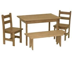 Lovely Amish Maple Wood Kids Dining Table Set