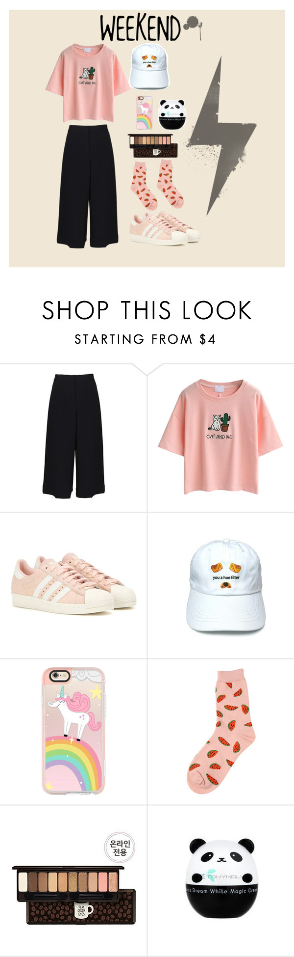 """WEEKEND!!!!!!!!!!!"" by gkemy on Polyvore featuring TIBI, WithChic, adidas, Casetify, Chicnova Fashion, Etude House and Tony Moly"