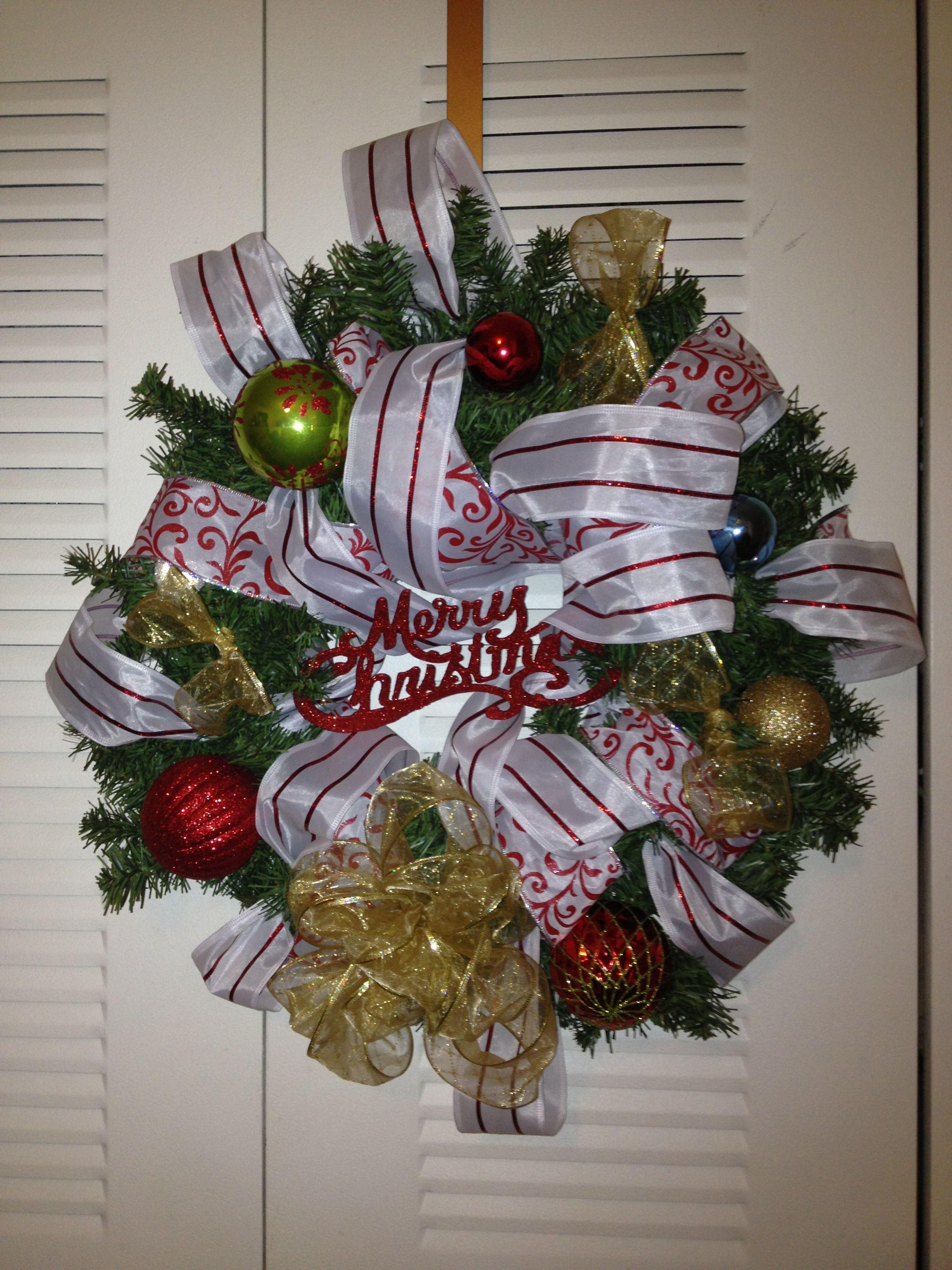 Christmas Wreath! DIY ribbon holiday wreath ) under 10