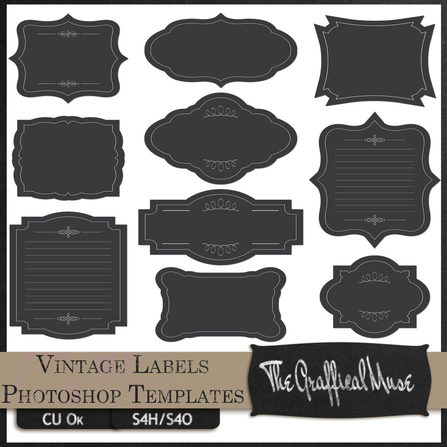 Photoshop Psd Templates  Digital Png Clipart Vintage Labels