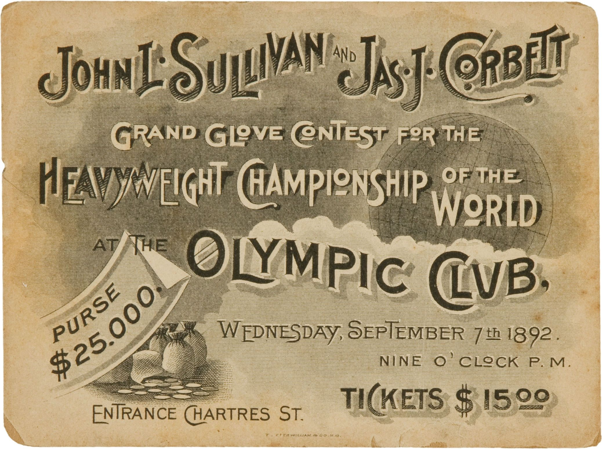 1892 John l. Sullivan vs James Corbett Full Ticket