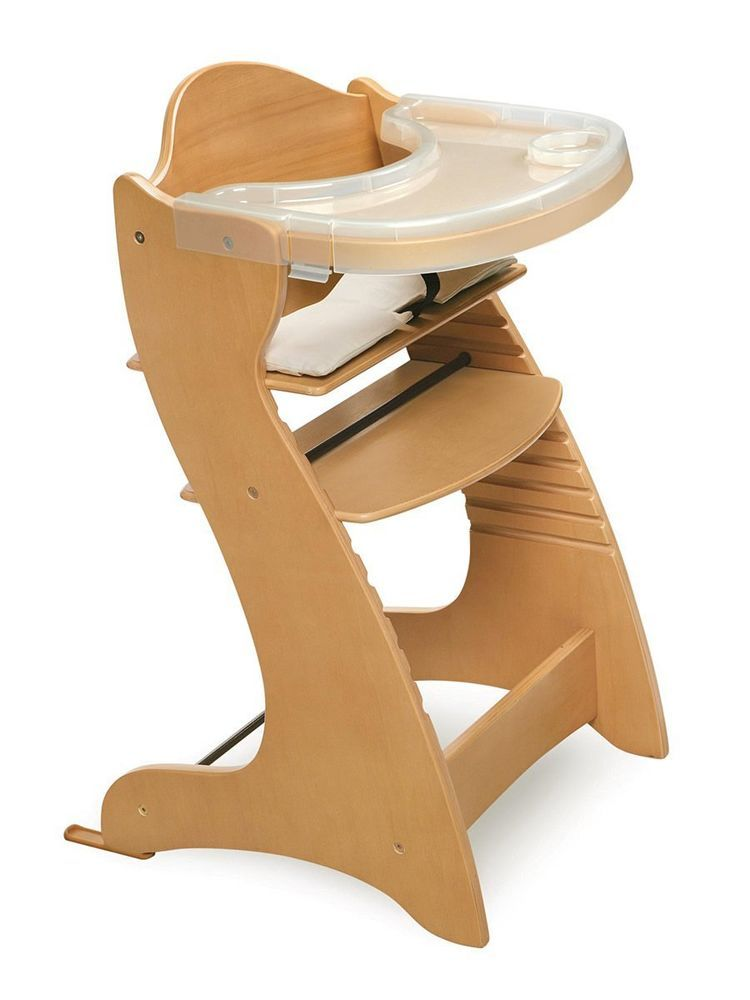 Space Saver High Chair For Baby Toddlers Modern Wooden Natural