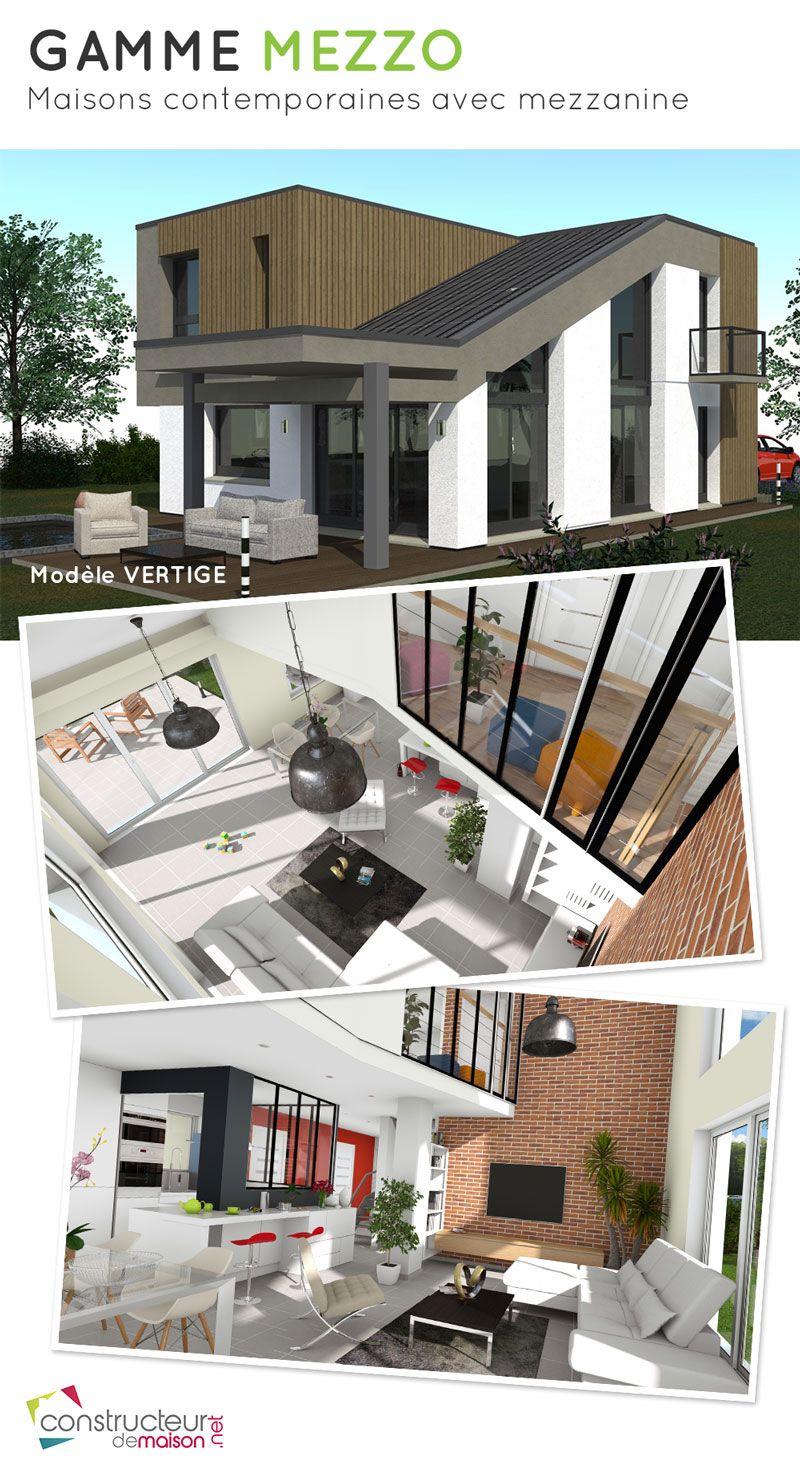 Maison d\'architecte contemporaine avec mezzanine. Maison T5 de 120m2 ...