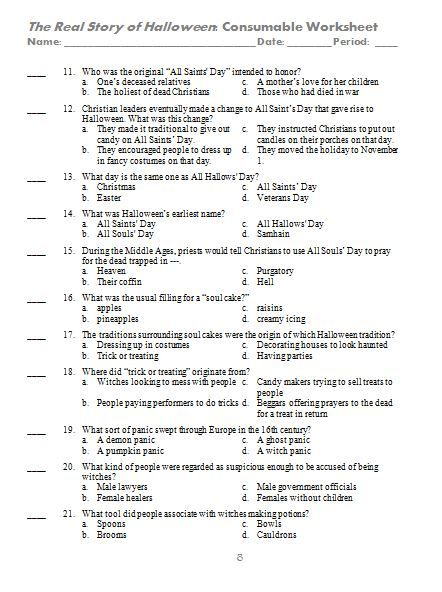 page 2 of the video questions video quiz for the real story of halloween