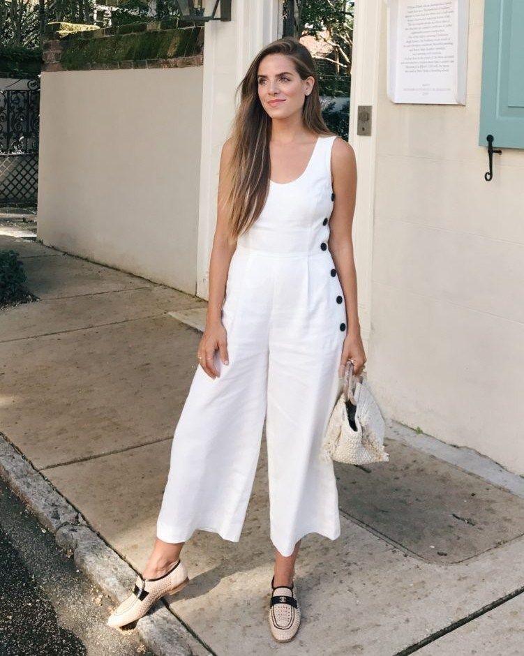 861b2ea226ab 6.17 daily look (Club Monaco  emberlynn  jumpsuit + Chanel loafers +  Carolina Santo Domingo raffia bag)