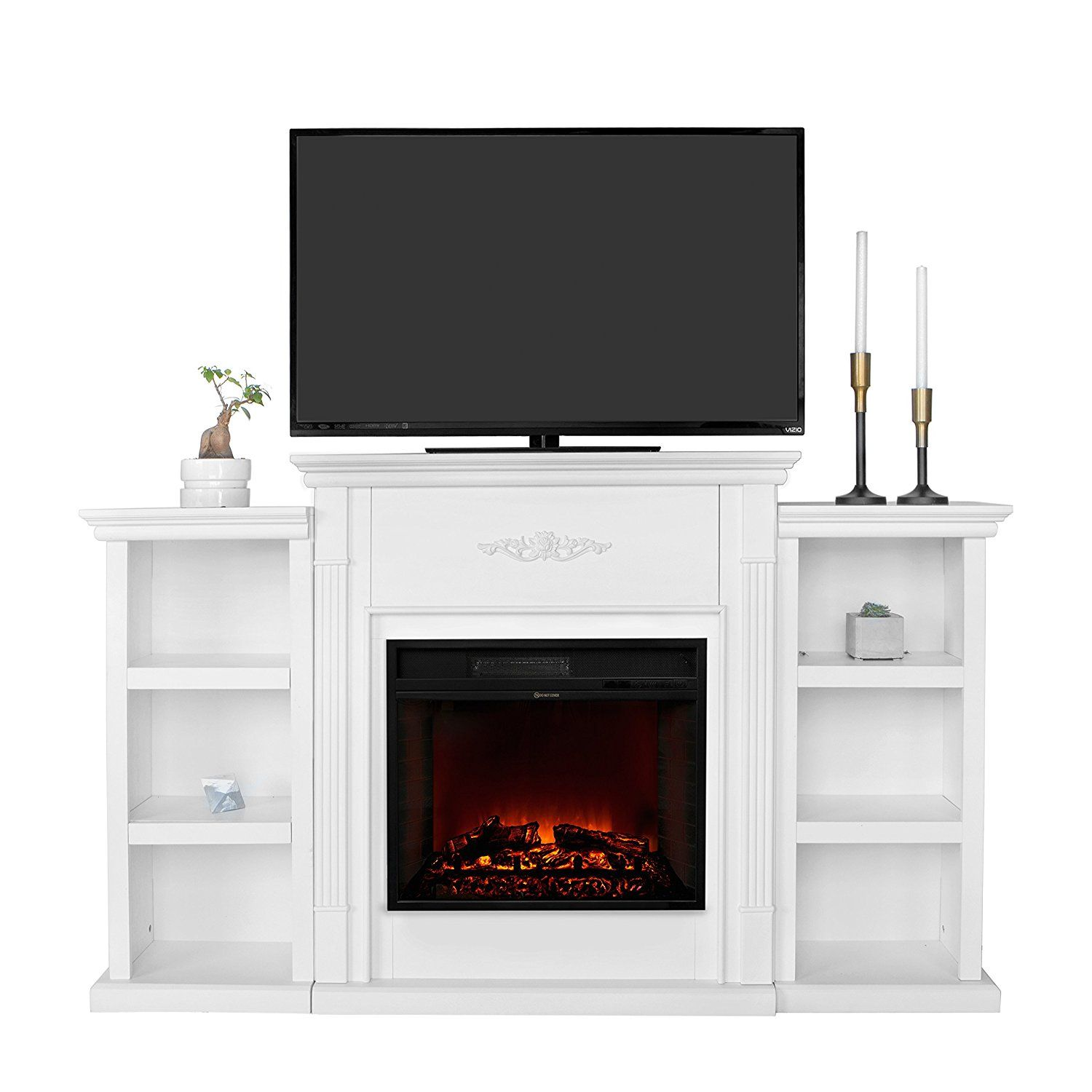 Xtremepowerus electric portable fireplace w tv stand bookcases