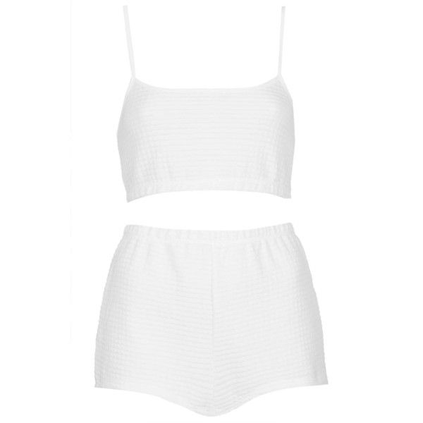 TOPSHOP Waffle PJ Crop Top and Highwaisted Shorts ($17) ❤ liked on Polyvore featuring intimates, sleepwear, pajamas, shorts, tops, underwear, dresses, white, waffle pajamas and waffle knit pajamas