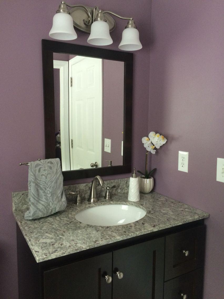 Bathroom remodel plum paint granite dark vanity diy for Bathroom inspo