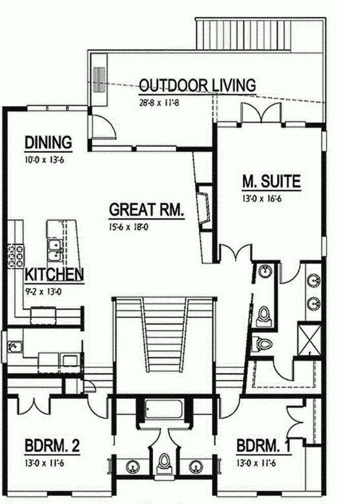 Use As Single Story House Change Stairs In Middle To Office Room No Fire Place Pantry Next To Fridge House Plans How To Plan Small Modern House Plans