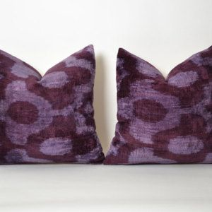 SET of 2 Purple Ikat Velvet Pillow Covers 14x14 tribal cushion shabby chic home decor vintage interior design eclectic pillows embroidery
