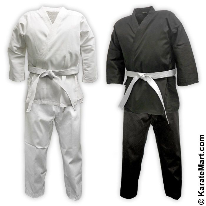 Great for Taekwondo or Karate Black Complete Middleweight Student Uniform