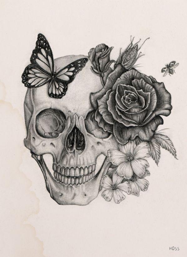Rose & Skull by Boudos Simon, via Behance #skull_tattoo  – Art – #amp #Art #Behance #Boudos