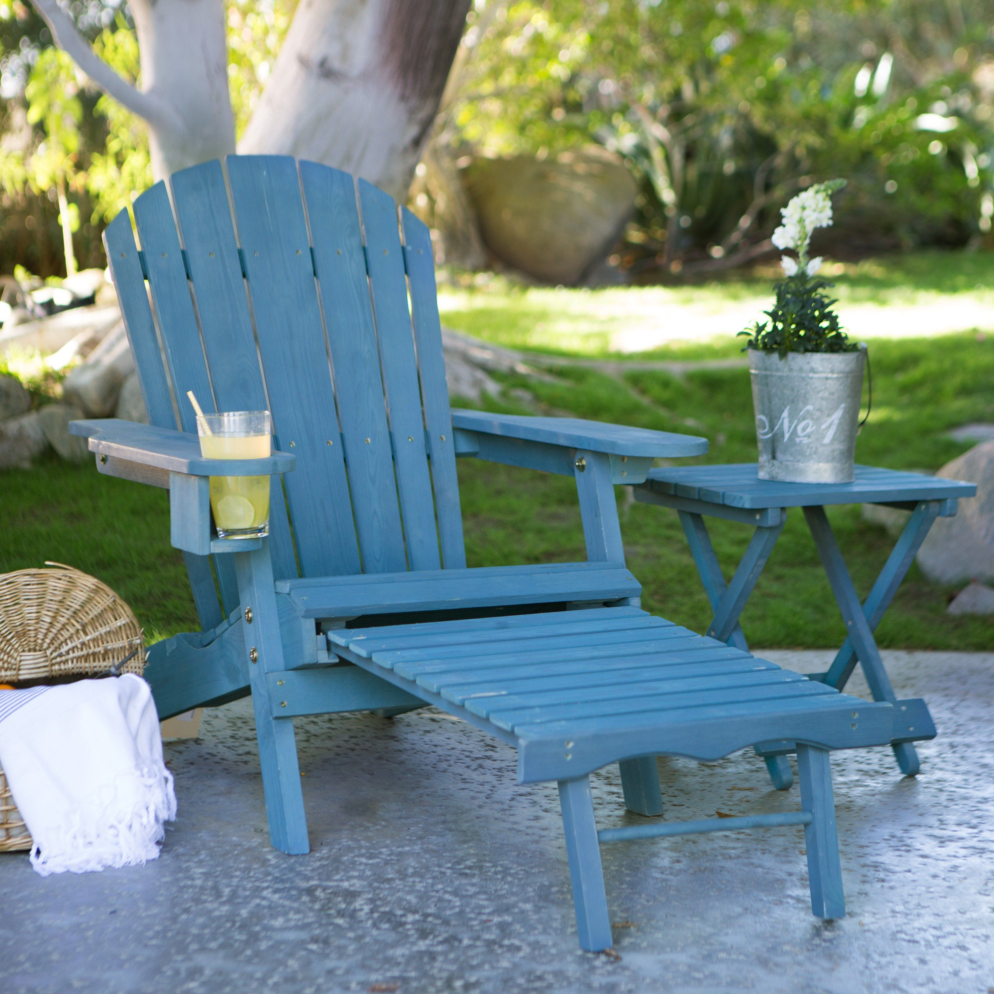 Coral Coast Big Daddy Adirondack Chair With Pull Out Ottoman And Cup Holder    Blue