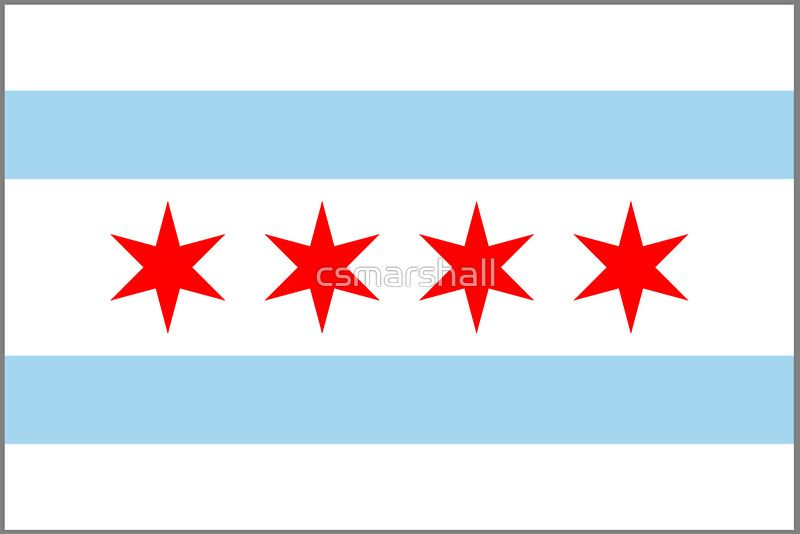 Chicago Flag Sticker By Csmarshall Flag Of Chicago Flag Design Chicago Flag Tattoo