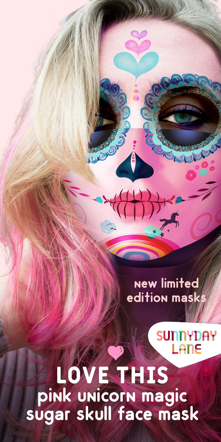 October Sale Pink Sugar Skull Face Mask Of My Unicorn And Rainbow Dreams In 2020 Sugar Skull Face Black Kids Hairstyles Skull Face Mask