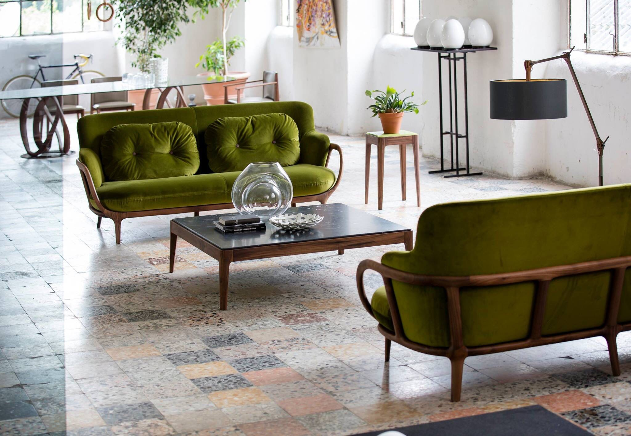 Allison sofas and Ziggy coffee table by Porada