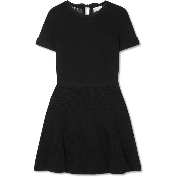 Lace-paneled Cotton Mini Dress - Black Red Valentino Manchester Sale Online Cheap Sale Enjoy JDfhH