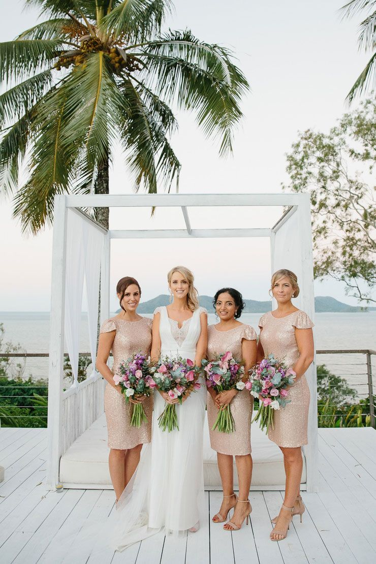 A glamorous tropical wedding cocktail bridesmaid dresses gold a glamorous tropical wedding ombrellifo Gallery
