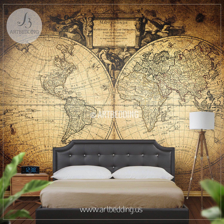 Vintage World Map 1752 Hemisphere Wall Mural, Self Adhesive Peel ...