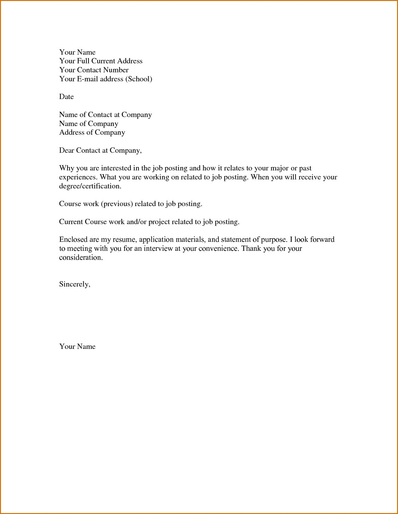25 Simple Cover Letter For Job Application Basic Employment Ukranpoomarco