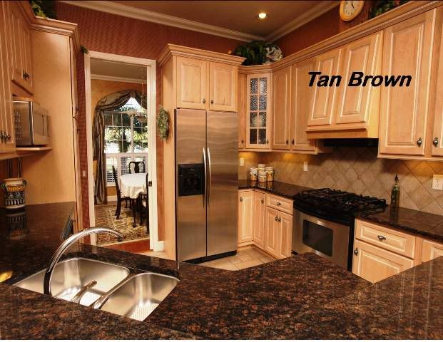 Tan Brown Countertops With Light Cabinets Tan Kitchen Brown