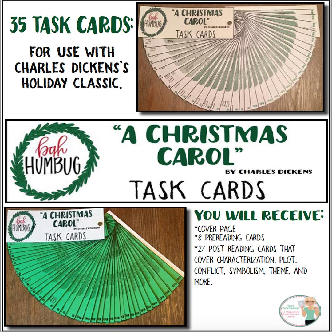 "Task Cards - ""A Christmas Carol"" | Christmas carol, Pre reading activities, Christmas carol ..."