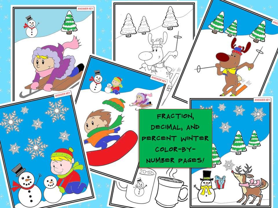 Fresh Ideas - Winter Math Fraction, Decimal & Percent Color By Number