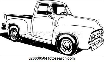 ilustración, lineart, clásico, 1953, ford, recolección